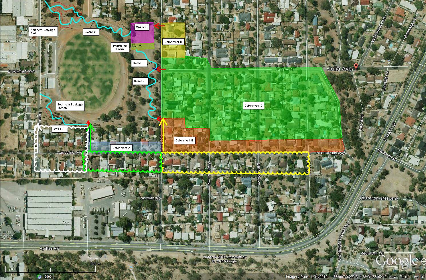 Norman Reserve St Marys residential catchment