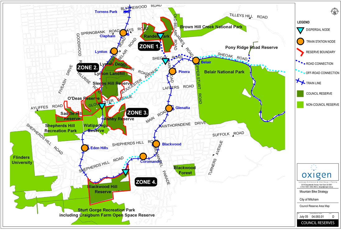 City of Mitcham Trails Zone Map